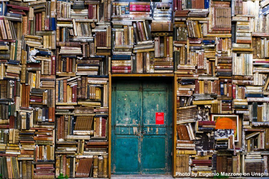 Mur recouvert de livres autour d'une porte bleue